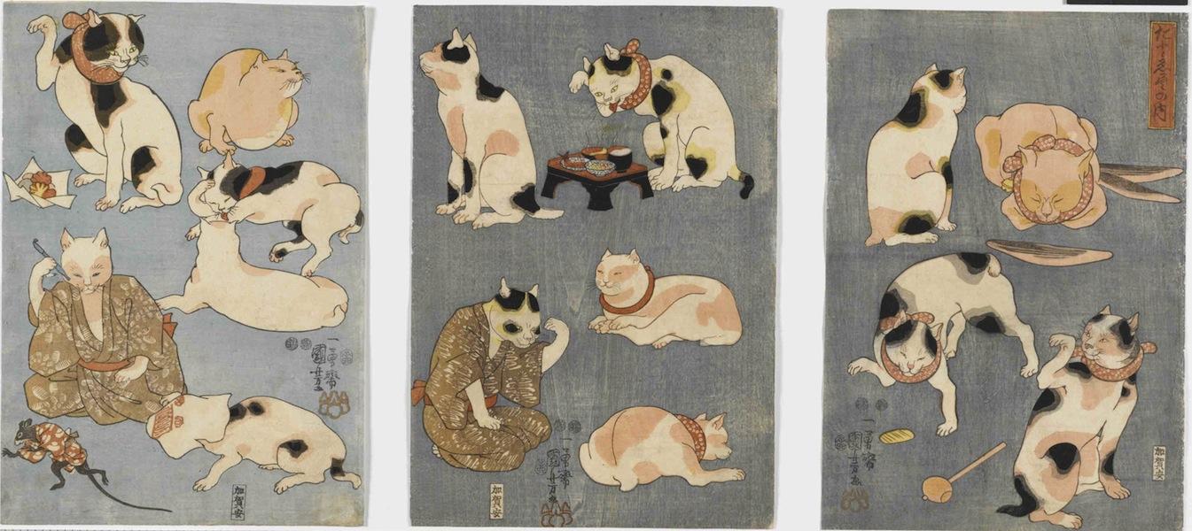 Utagawa Kuniyoshi, Proverbi illustrati [con i gatti] (Tatoe zukushi no uchi), 1852, silografia policroma (nishikie), 35.2x24.4; 35.2x24.6; 35.3x24.5 cm ciascuno, Masao Takashima Collection