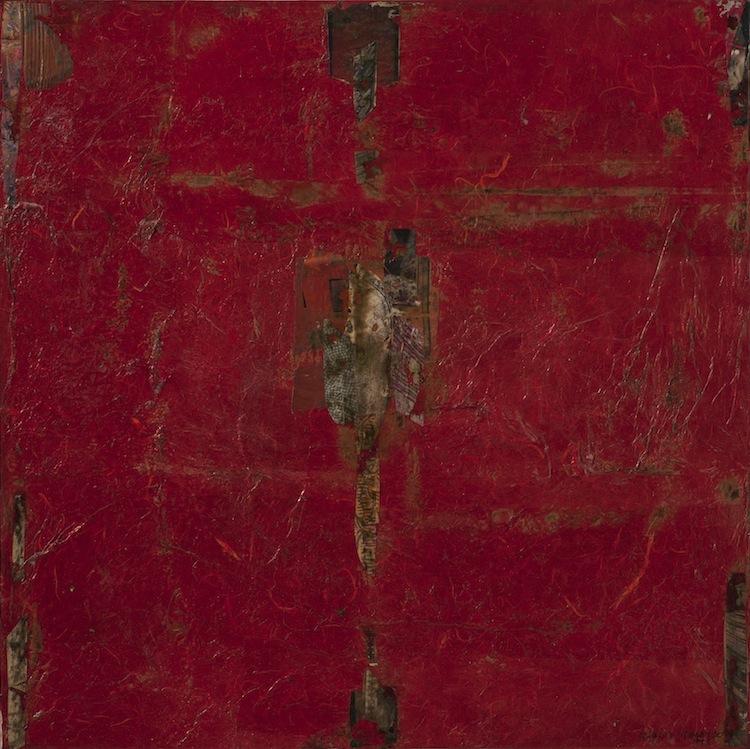 Osvaldo Spagnulo, Essenza dell'essenziale, 1996, collages di carte bruciate su tela, 80x80 cm Courtesy Archivio Osvaldo Spagnulo Foto Andrea Valentini
