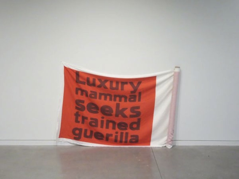 Dana Claxton, installation Ode to Gramsci – Red on Red, 2016, six red banner screen prints flags