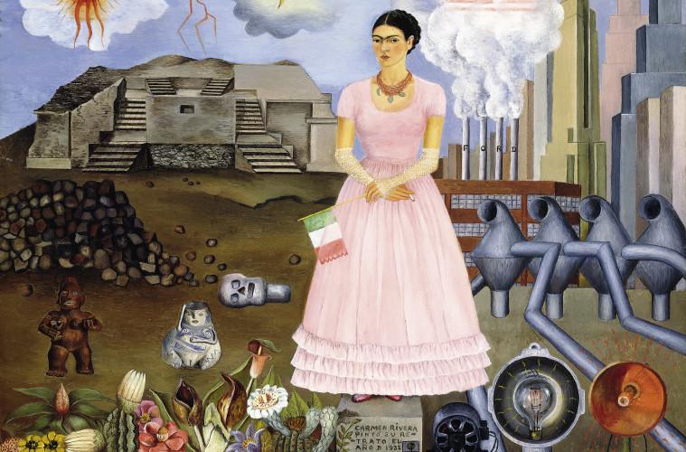 Frida Kahlo, Autoritratto alla frontiera tra il Messico e gli Stati Uniti, 1932, olio su metallo, 31 x 35cm, © Modern Art International Foundation (Courtesy Maria and Manuel Reyero)