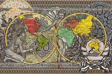 Malala Andrialavidrazana, Figures 1799, Explorers' routes, 2015, Ultra Chrome Pigmentdruck, Stampa a pigmenti Ultra Chrome, 110 x 143 cm