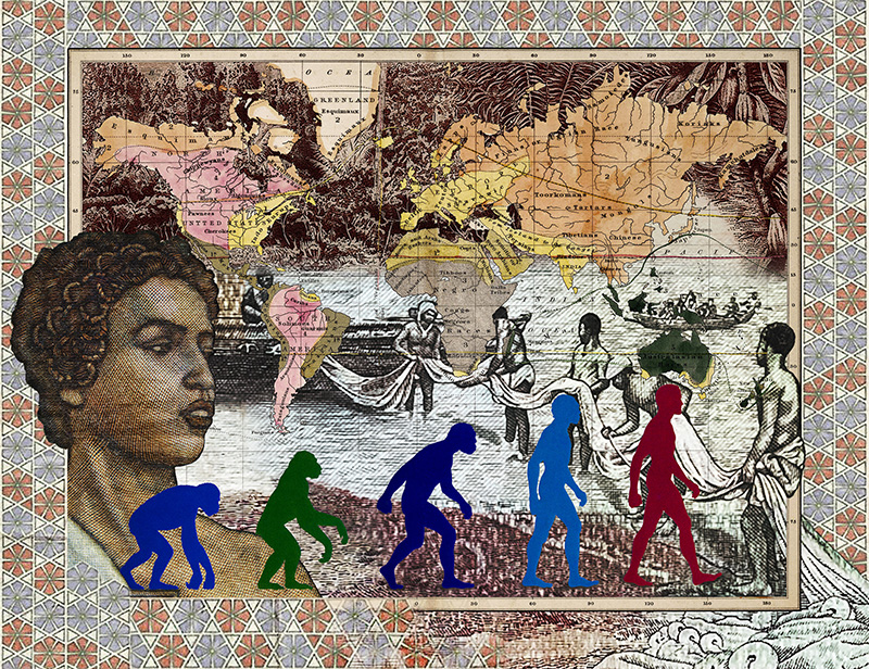 Malala Andrialavidrazana, Figures 1856, Leading races of man, 2016, Ultra Chrome Pigmentdruck, Stampa a pigmenti Ultra Chrome, 110 x 143 cm