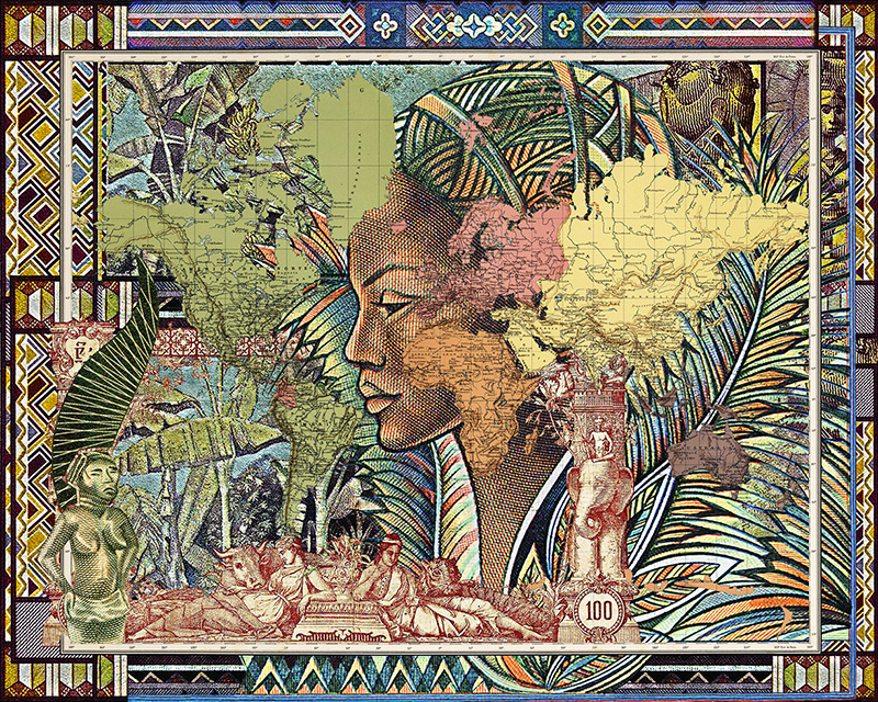 Malala Andrialavidrazana, Figures 1889, Planisferio, 2015, Ultra Chrome Pigmentdruck, Stampa a pigmenti Ultra Chrome, 110 x 137,5 cm