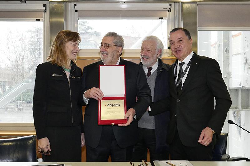 Cerimonia di consegna del Premio ANGAMC alla carriera assegnato al gallerista milanese Giorgio Marconi