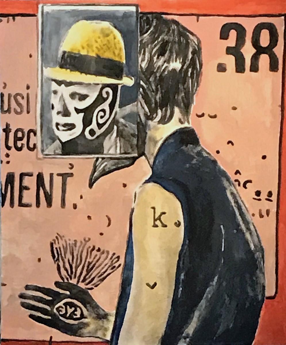 Andrea Saltini Momento n.38, 2017, tecnica mista su tela cm 120x100. Courtesy Rizomi