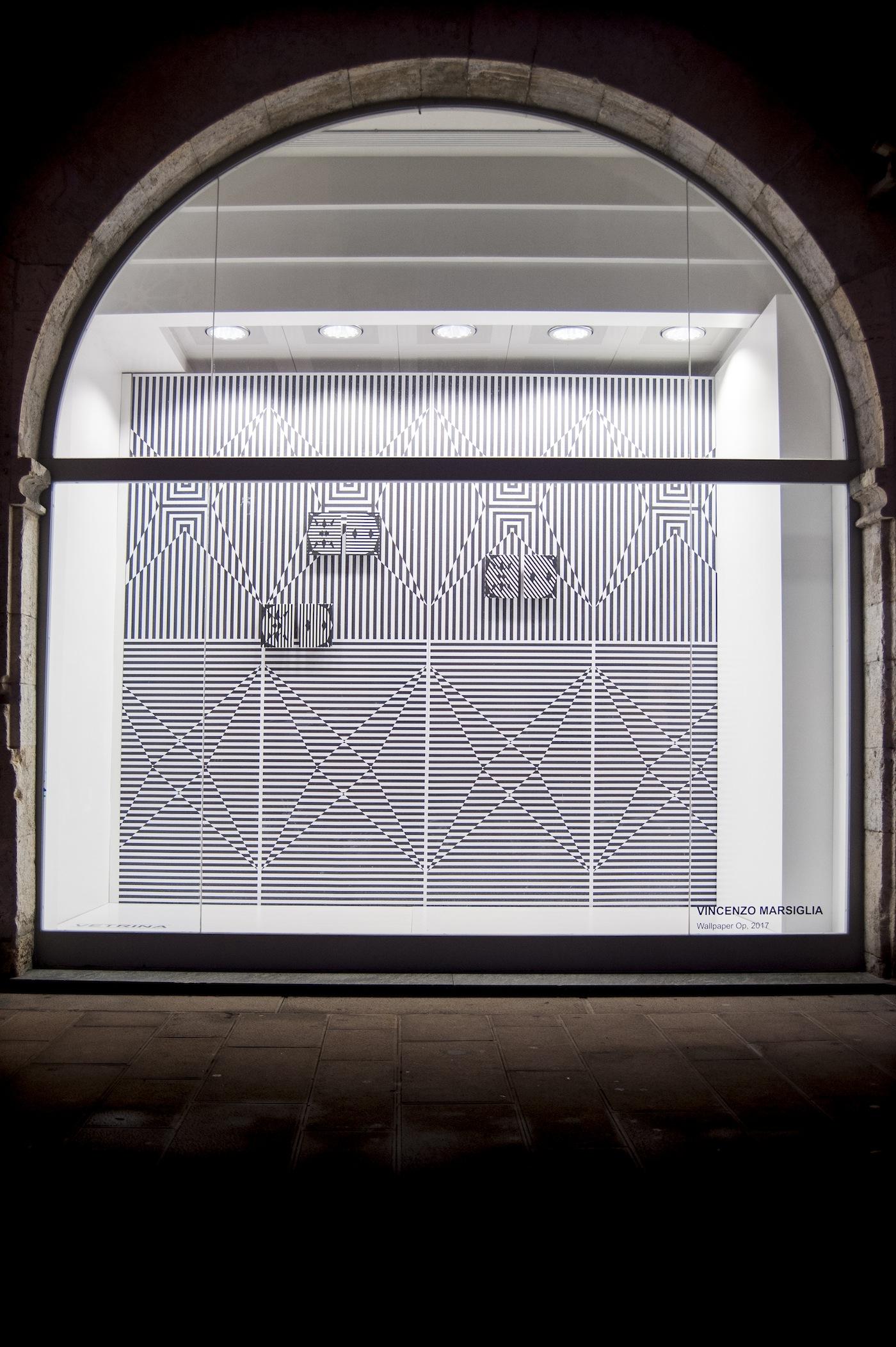 VINCENZO MARSIGLIA, Wallpaper Op, 2017 VETRINA - Pietrasanta Banco BPM - Vehicle Projects. Foto: Silvio Pennesi