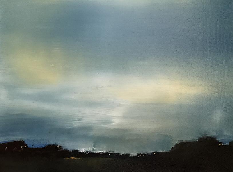 LUCA GASTALDO, Ascoltare il cielo, 2018, olio e bitume su tela, 30x40 cm
