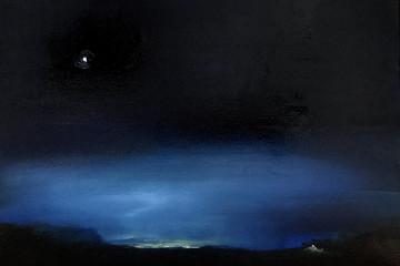 LUCA GASTALDO, Squilli di luce, 2018, olio e bitume su tela, 30x40 cm