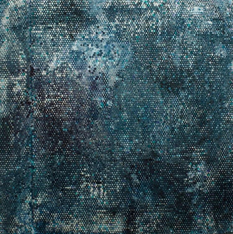 Gianluca Patti, Earth Noise, 2017, acrilico e resina su tela,120x120 cm (dalla serie Frequencies)