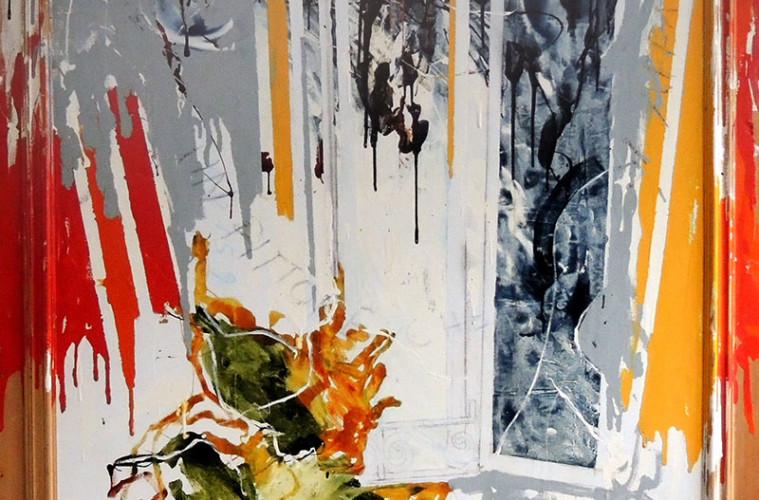 Mario Schifano, Pittore che si affaccia, 1979, olio e smalto su tela e legno, cm 193x172