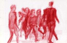 """Disegno di Diego Perrone ispirato all'opera """"KIss"""" di Tino Sehgal"""