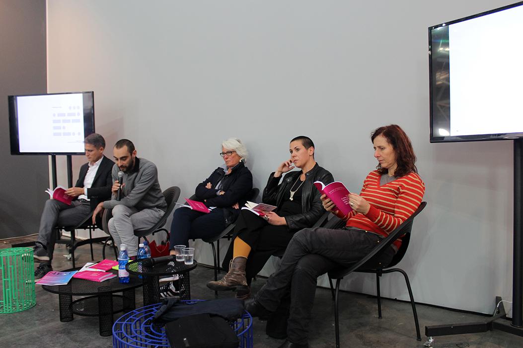 Presentazione del libro ad Artissima da destra Stefania Galegati Shines, Milena Becci, Cristiana Colli, Giovanni Gaggia, Federico Talè
