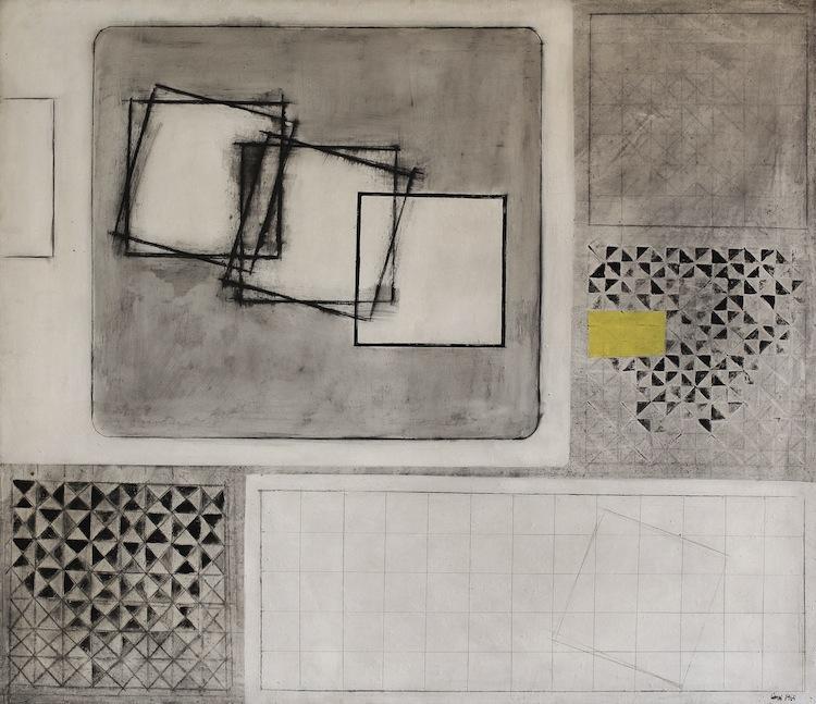 Carlo Ciussi, XXVIII, 1965, olio e tecnica mista su tela, 120x140 cm © A arte Invernizzi, Milano Foto Bruno Bani, Milano