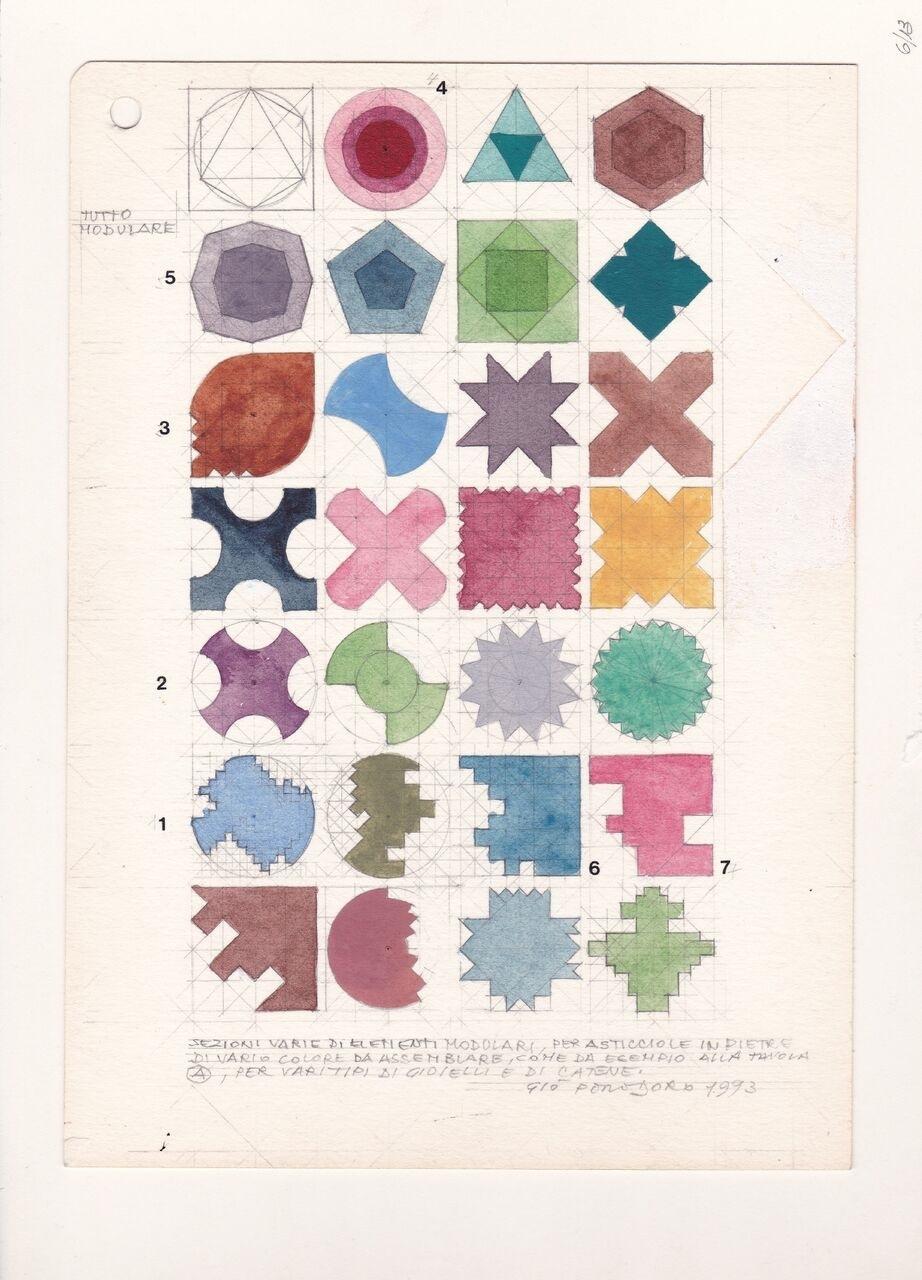 Gio Pomodoro, Tavola del progetto 1993 per la Cesari Rinaldi, matita e acquerello su carta. Photo Marco Onofri
