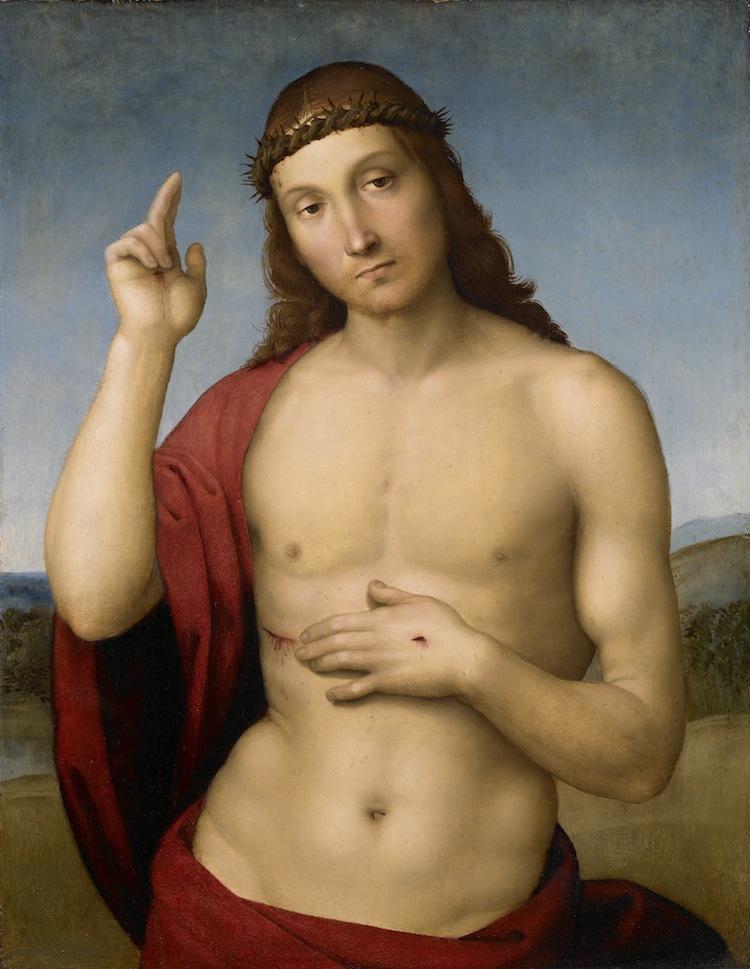 Raffaello Sanzio, Cristo Redentore benedicente, 1505 – 1506 circa, olio su tavola, cm 31.5x25.5, Brescia, Pinacoteca Tosio Martinengo © Fondazione Brescia Musei