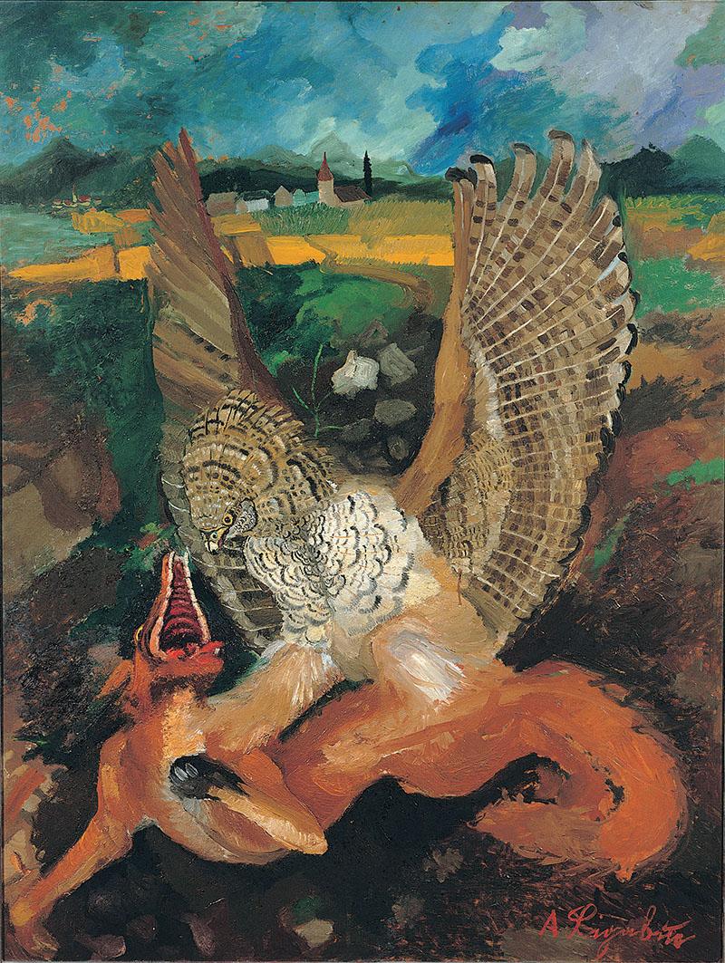Antonio Ligabue, Aquila con volpe, s.d. (1949-1950), olio su tavola di faesite, 144 x 109 cm Gualtieri (Reggio Emilia), collezione privata