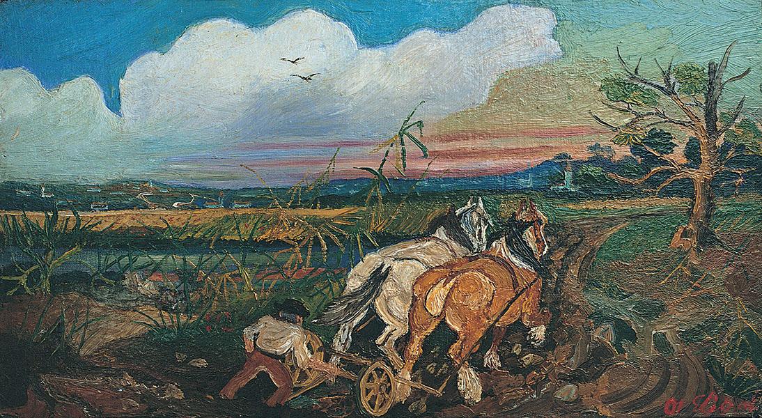 Antonio Ligabue, Aratura con cavalli, s.d. (1948), olio su cartone telato, 25 x 45 cm, Reggio Emilia, collezione privata