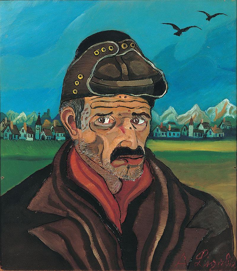 Antonio Ligabue, Autoritratto con berretto da motociclista, s.d. (1954-1955), olio su tavola di faesite, 80 x 70 cm, Gualtieri (Reggio Emilia), collezione privata