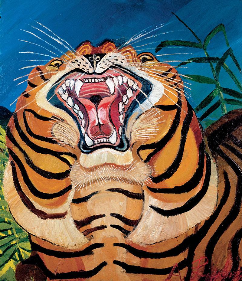 Antonio Ligabue, Testa di tigre, s.d. (1955-1956), olio su tavola di faesite, 75 x 64 cm, Guastalla (Reggio Emilia), collezione privata