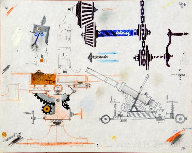 Pino Pascali, Armi, 1964, tecnica mista su carta, 22x28 cm