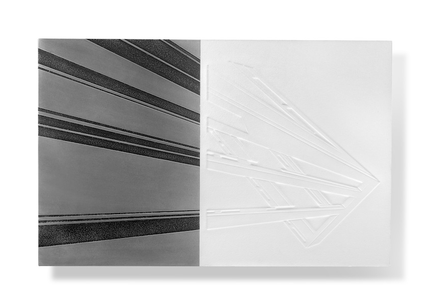 Nadia Galbiati, Luoghi 1, 2014, stampa a secco su carta cotone, ferro con disegno acidato a morsura, 45x70x25 cm