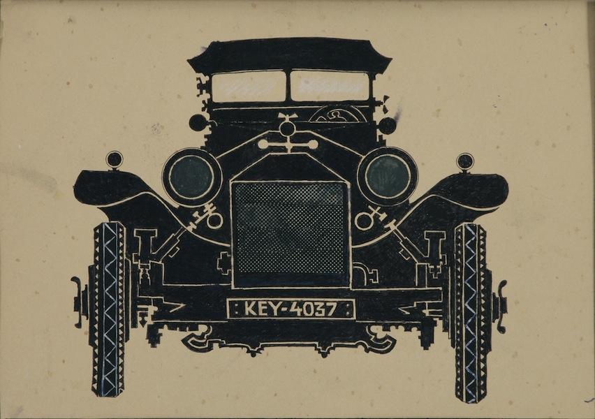 Pino Pascali, L'auto di Al Cafone, 1961, tecnica mista su cartoncino, 21x29.5 cm