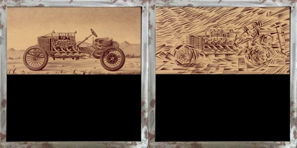 Marcello Carrà, Auto statica - Auto che sfreccia, 2018, penna biro su carta applicata su legno con vetrocamera e acqua colorata, 40x40 cm