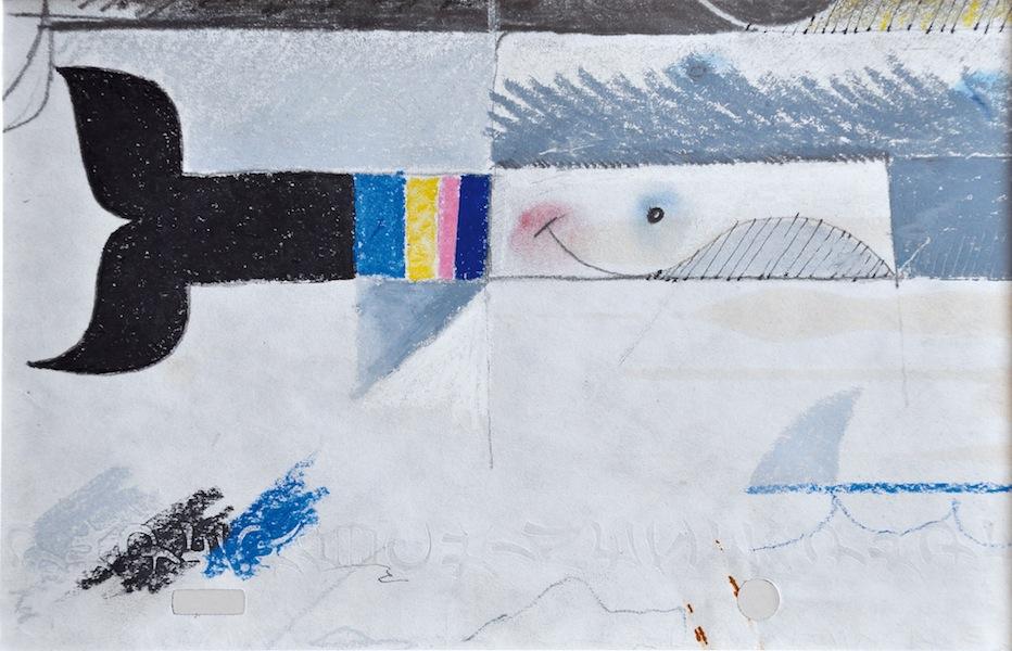 Pino Pascali, Pesce, 1963, tecnica mista su carta, 12x18 cm
