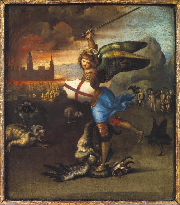 Raffaello, San Michele e il drago, 1505 circa, Musée du Louvre, Parigi Credits : Paris, Musée du Louvre, Département des Peintures