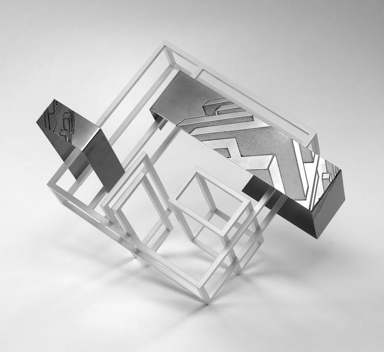 Nadia Galbiati, Spazio costruito VI, 2017, ferro con disegno acidato a morsura, ferro verniciato, 40x55x43 cm