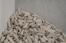 Veduta della mostra, Vita, morte e miracoli, Particolare installazione di Nuvola Ravera, Villa Croce, Genova