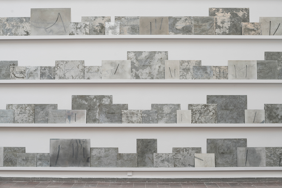 Fatma Bucak, Fantasies of Violence, 2017 - on going Installation view, Goteborg Biennial 2017 117 zinc plates, etching - cera molle, dimensions variable This work was made possible through the generous support of SAHA Association, Istanbul - © Fatma Bucak