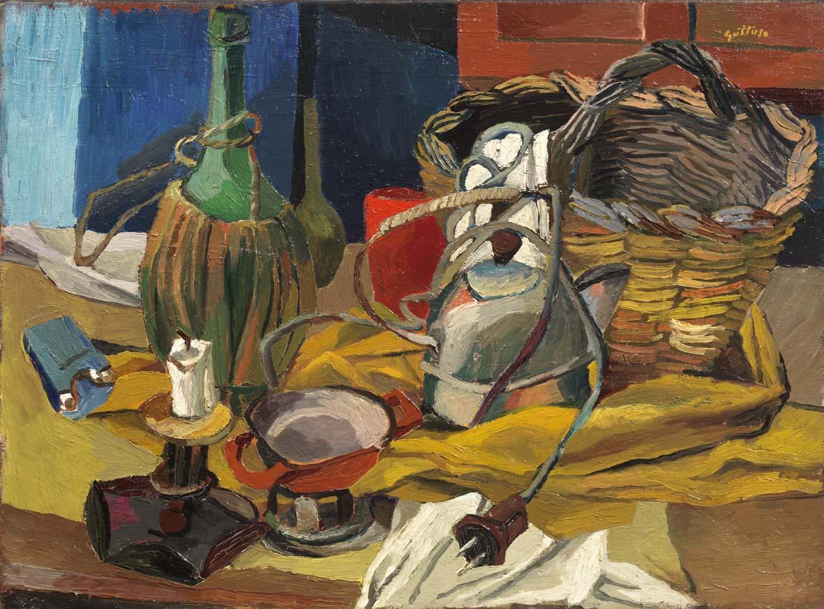 Renato Guttuso, Fiasco, candela e bollitore 1940-41, olio su tela, cm 54 x 73