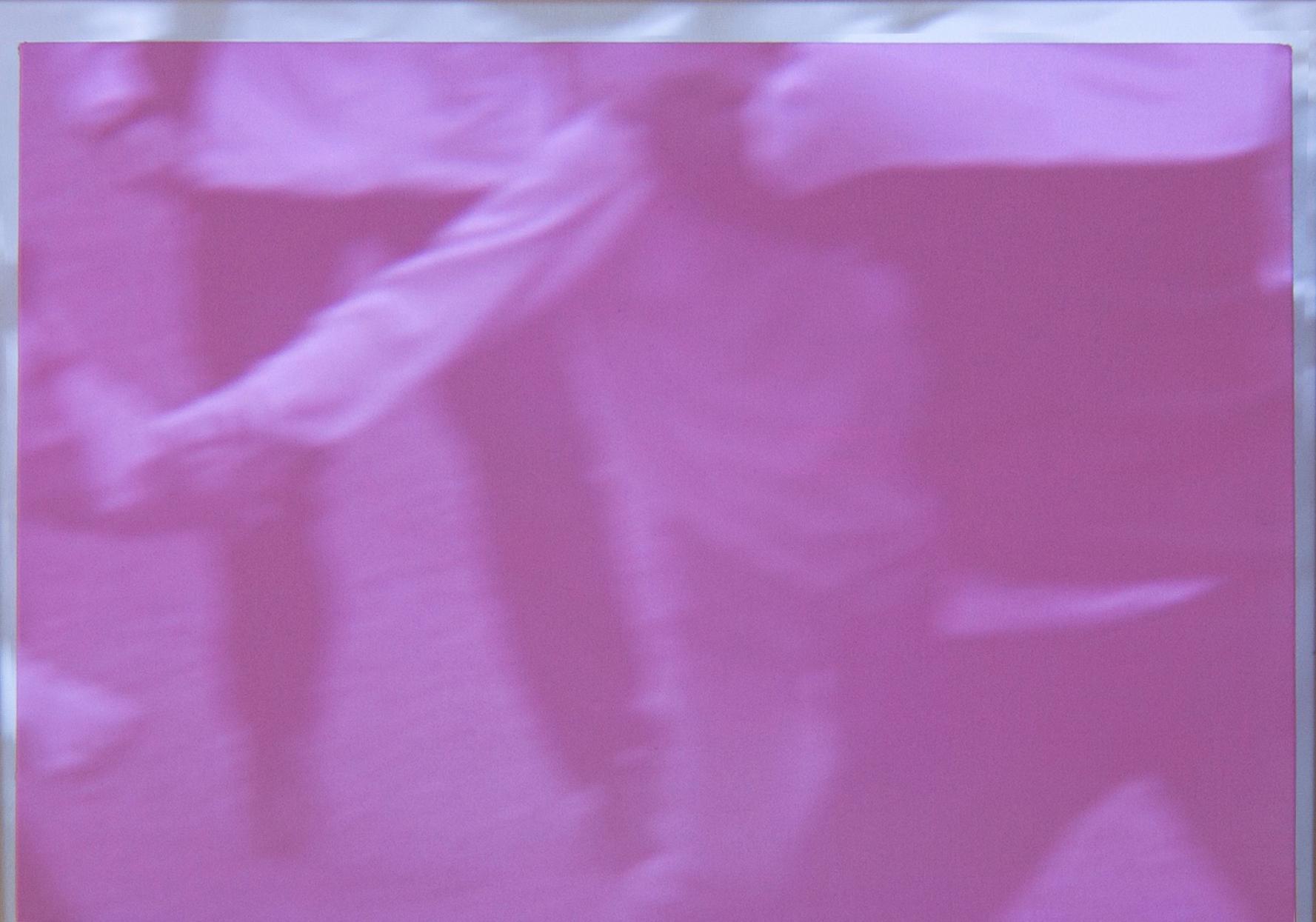 Ettore Pinelli, pictorial device *digital (rose light) 2017 olio su tela, foto proiezione, mensola in legno, 30x42cm