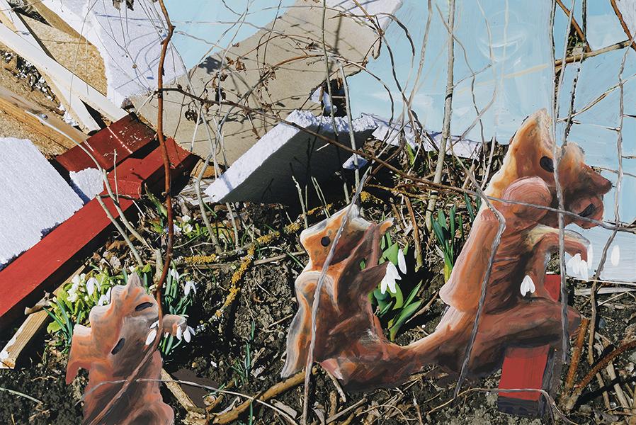 Dopo il letargo / After Hibernation, 2018, acrilico e olio su c-print, 60 x 90 cm, © Lutz & Guggisberg, Ph. Nadine Kägi
