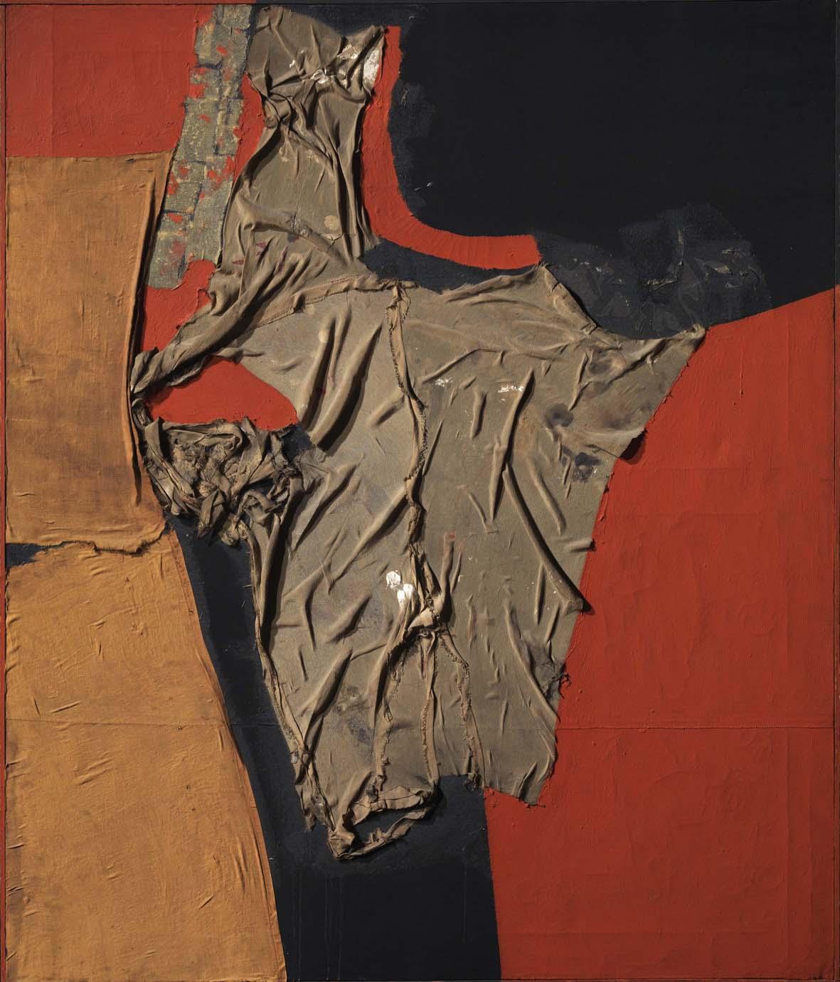 Alberto Burri, Rosso nero, 1955, stoffa, olio, vinavil su tela, cm 100 x 86