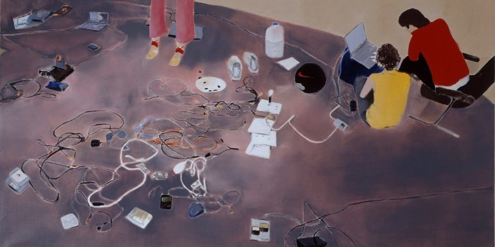 Miltos Manetas The Italian Painting, 2000, olio su tela cm 200 × 550, courtesy Fondazione MAXXI