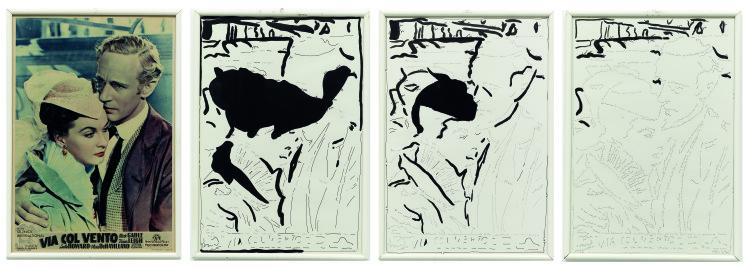 ketty La Rocca, Via col vento, 1975 Locandina e scritte a inchiostro su carta, 4 elementi, ciascuno cm 51 x 36 Foto: © Marco Caselli Nirmal