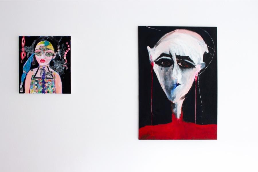 Down Deep. Immagini del profondo nella pittura contemporanea, veduta della mostra (Silvia Argiolas e Liana Ghukasyan), Villa Contemporanea, Monza