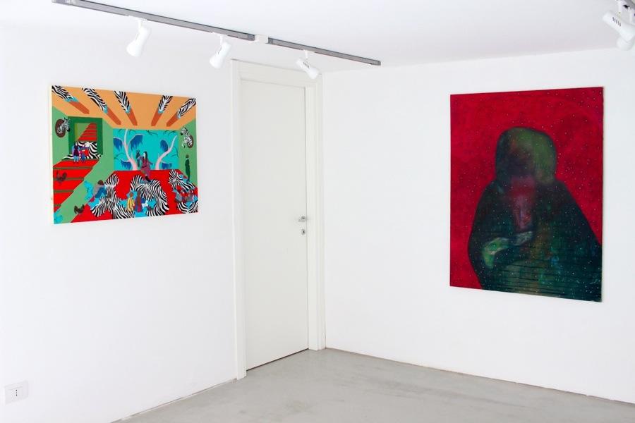 Down Deep. Immagini del profondo nella pittura contemporanea, veduta della mostra (Claudia Matta e Lorenzo Aceto), Villa Contemporanea, Monza