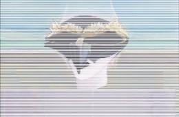 Ernesto Jannini, Pulcinella robotico, 2018, cm 102x82, tenda veneziana e acrilico su tavola