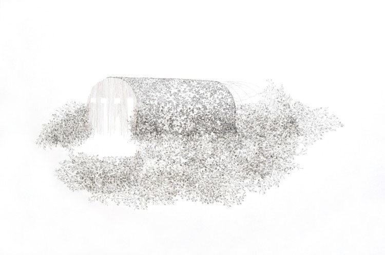 Tamara Ferioli, Shelter island, 2017, pencils and hair on tissue paper and canvas matite e capelli su carta velina e tela cm 100x150
