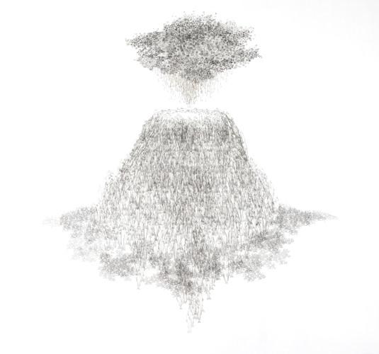 Tamara Ferioli, Volcano's lullaby, 2018, pencils and hair on tissue paper and canvas matite e capelli su carta velina e tela cm 190x200