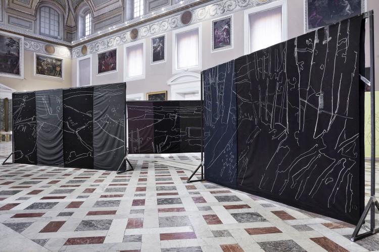 Giovanni Frangi, Lotteria Farnese, 2015, pastelli grassi su tela, dimensioni variabili