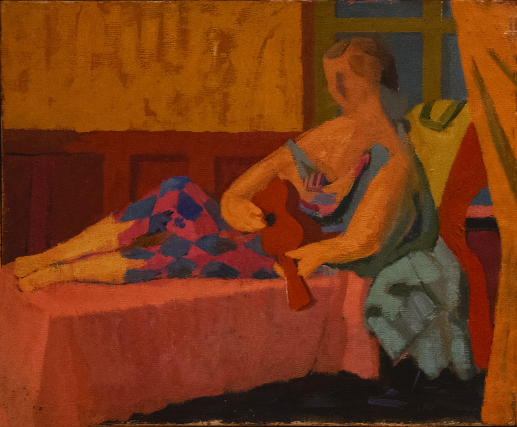 Giuseppe Capogrossi, Donna distesa con chitarra, 1947-48, olio su tela, cm 38x46