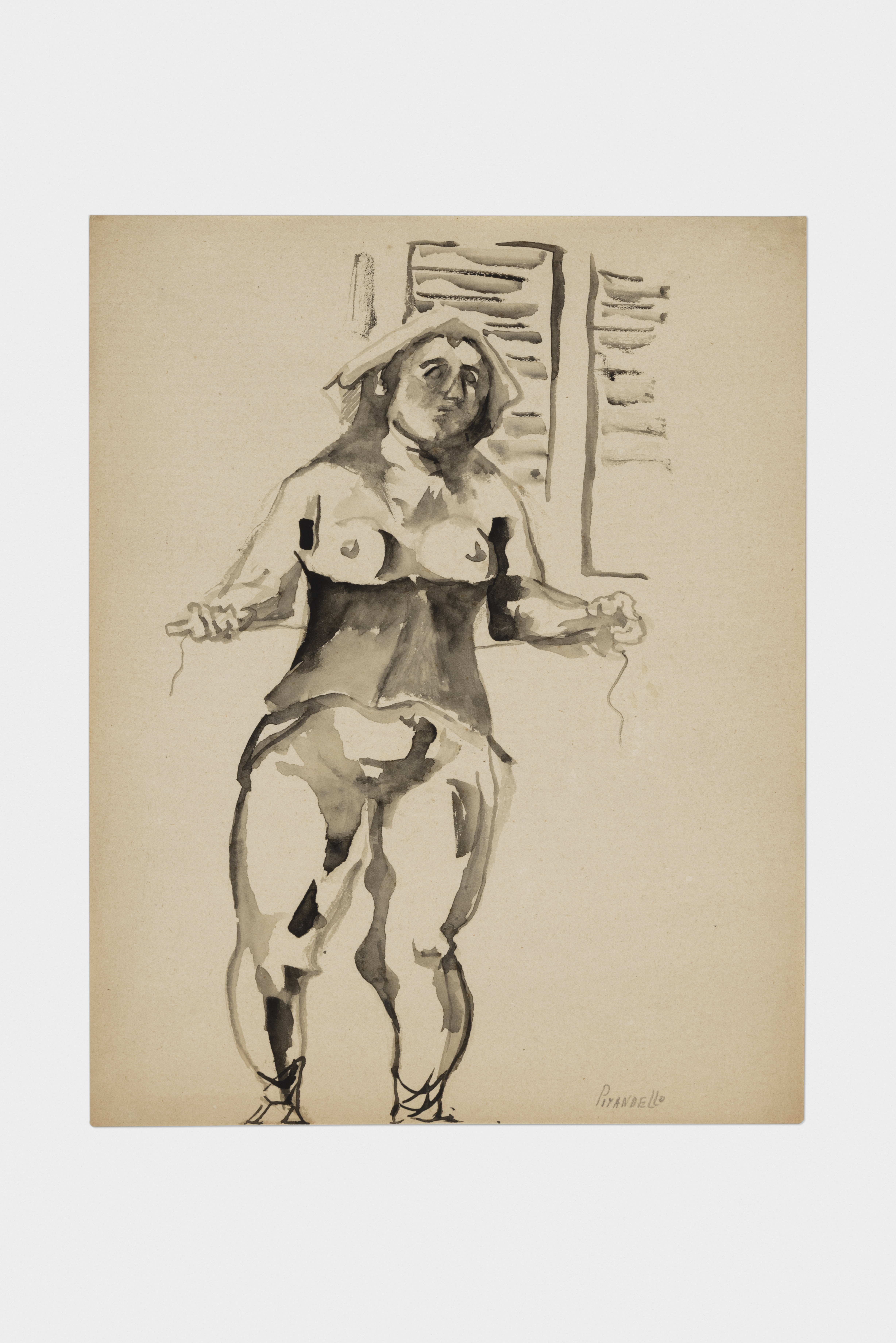 Fausto Pirandello, Donna col busto, 1940, acquerello su carta