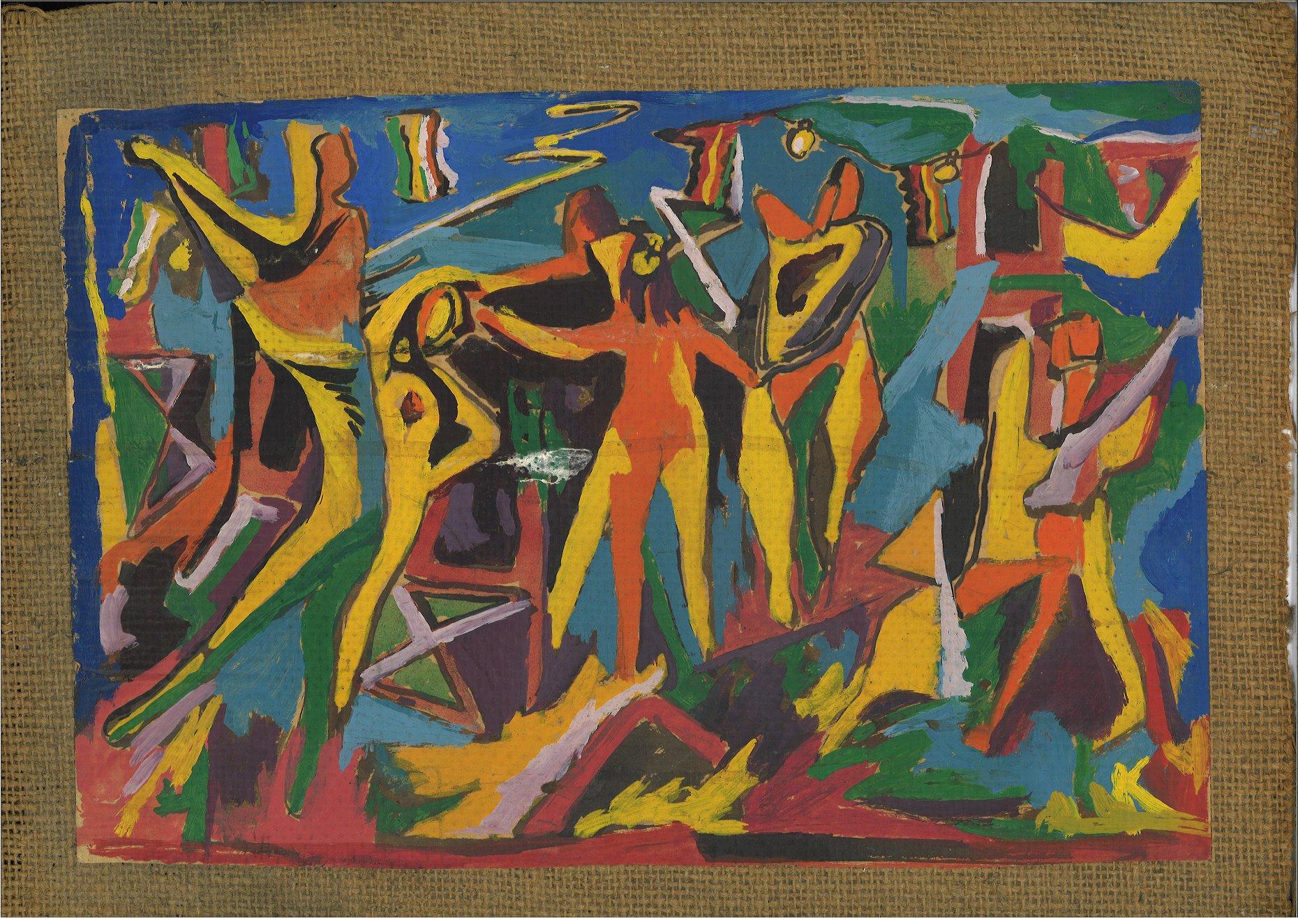 Giuseppe Capogrossi, Composizione di figure danzanti, 1947-48, tecnica mista su carta intelata, cm 30x40 circa