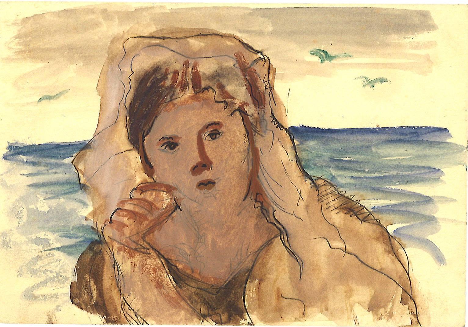 Giuseppe Capogrossi, Studio di donna con velo, 1931, circa penna e acquerello su carta, cm 9x13