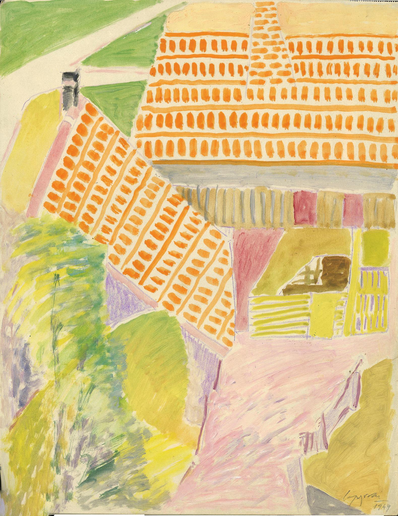 Giuseppe Capogrossi, Studio di tetti, 1949, matita colorata, tempera e olio su carta, cm 43,5x34