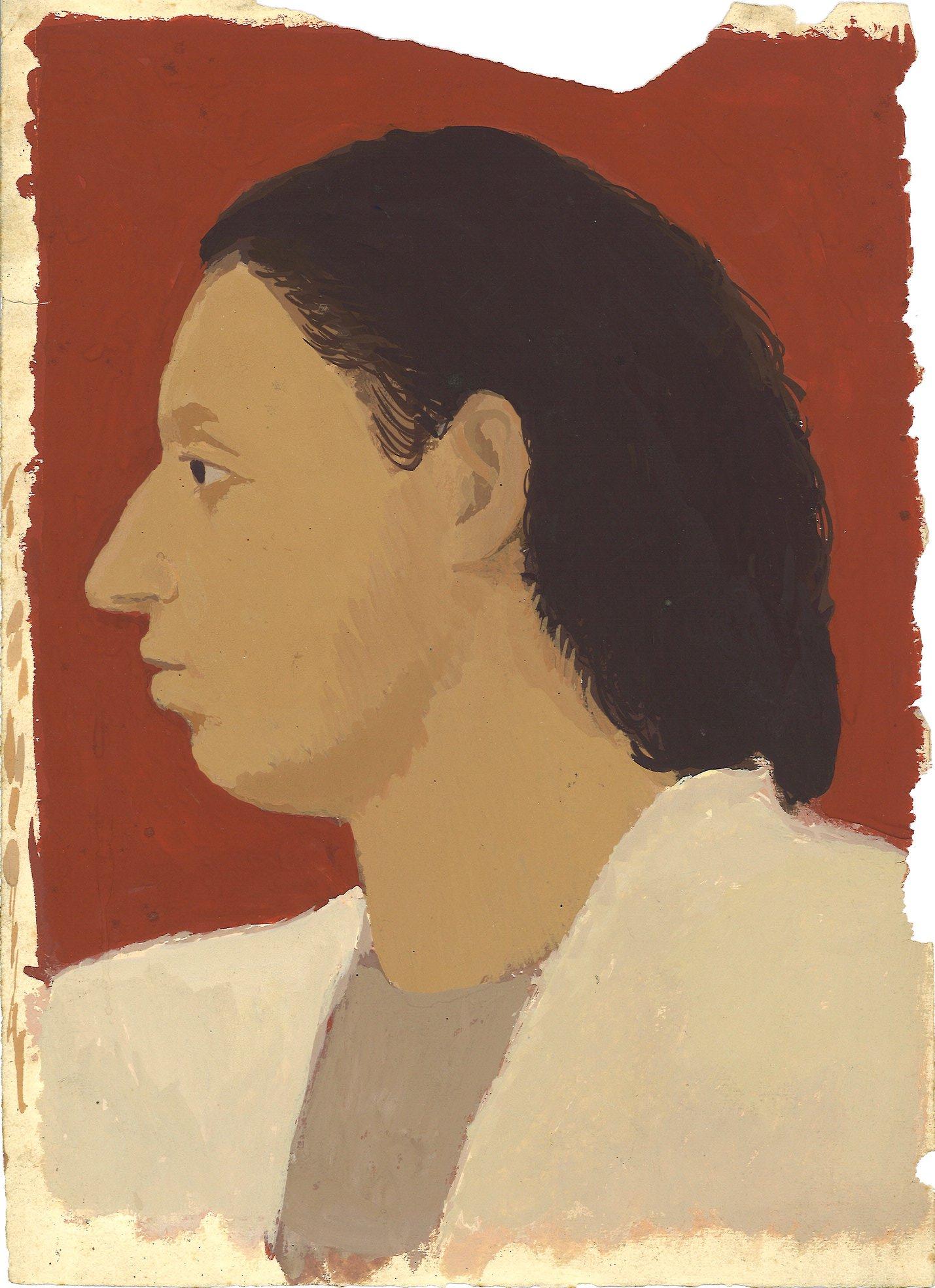 Giuseppe Capogrossi, Testa di Giovane, 1934, tempera su carta, cm 33,5x24